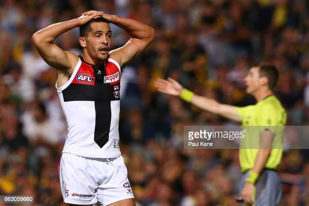 Shane Savage of the Saints looks on after giving away a free kick during the round two AFL match between the West Coast Eagles and the St Kilda...