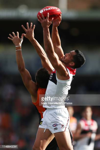Shane Savage of the Saints takes a mark during the round seven AFL match between the Greater Western Sydney Giants and the St Kilda Saints at Manuka...