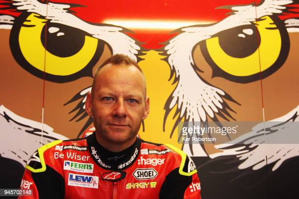 Shane 'Shakey' Byrne of the Be Wiser Ducati Racing Team seen in his garage during practice for round two of the British Superbike Championship at...