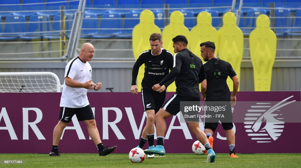 Shane Smeltz controls the ball during a training session of the New Zealand national football team at Petrovsky Stadium on June 18, 2017 in Saint Petersburg, Russia.