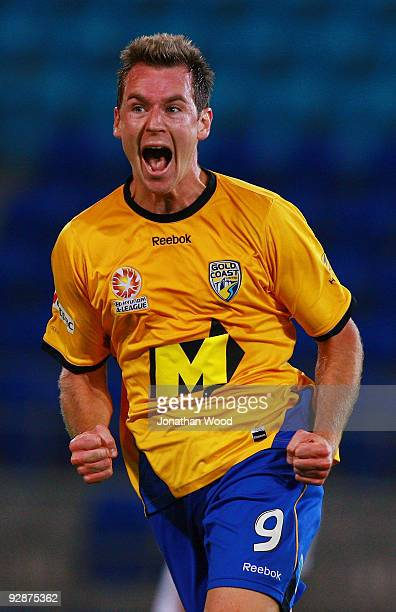 Shane Smeltz of Gold Coast celebrates after scoring a goal during the round 14 A League match between Gold Coast United and Sydney FC at Skilled Park...