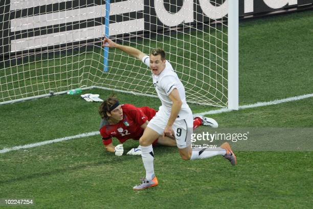 Shane Smeltz of New Zealand celebrates scoring the opening goal during the 2010 FIFA World Cup South Africa Group F match between Italy and New...