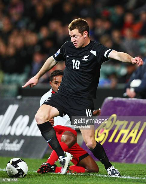 Shane Smeltz of New Zealand keeps the ball in play during the Oceania Nations CupFIFA World Qualifing match between the New Zealand All Whites and...