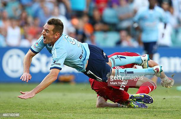 Shane Smeltz of Sydney collides with Wellington goal keeper Glen Moss during the round 12 ALeague match between Sydney FC and Wellington Phoenix at...