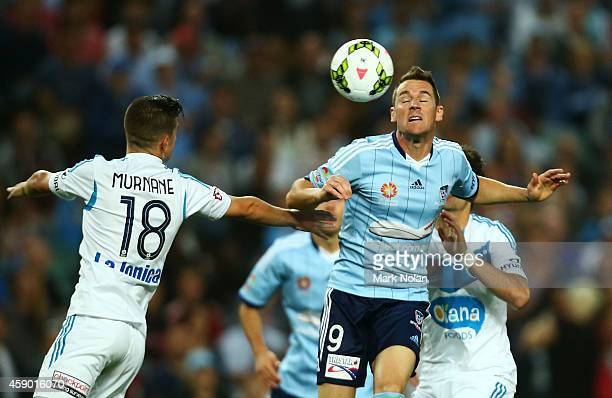 Shane Smeltz of Sydney contests possession during the round six ALeague match between Sydney FC and Melbourne Victory at Allianz Stadium on November...