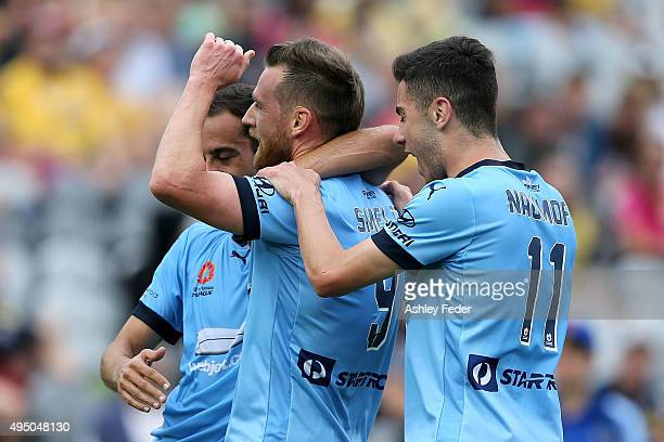 Shane Smeltz of Sydney FC celebrates a goal during the round four A-League match between the Central Coast Mariners and Sydney FC at Central Coast...