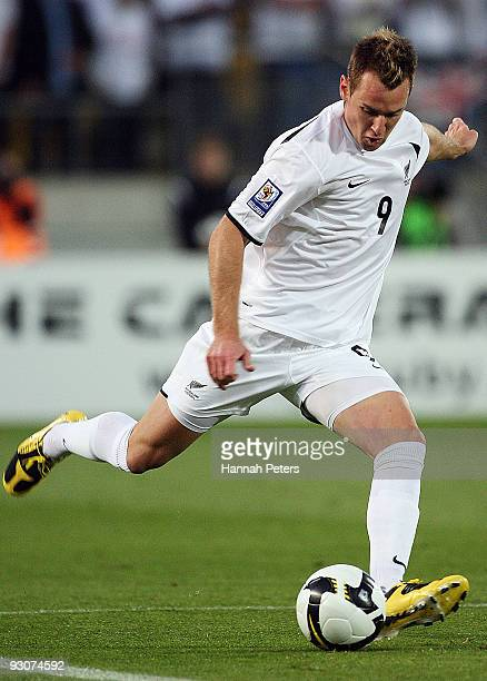 Shane Smeltz of the All Whites kicks the ball through during the FIFA World Cup Asian Qualifying match between New Zealand and Bahrain at Westpac...