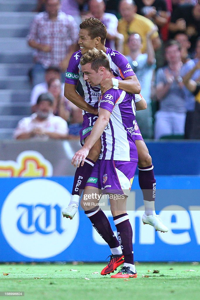 Shane Smeltz of the Glory celebrates after scoring a goal during the round 15 A-League match between the Perth Glory and Sydney FC at nib Stadium on January 5, 2013 in Perth, Australia.