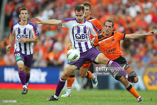 Shane Smeltz of the Glory controls the ball from Massimo Murdocca of the Roar during the 2012 ALeague Grand Final match between the Brisbane Roar and...