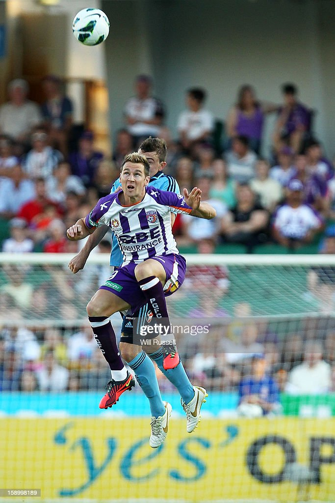 Shane Smeltz of the Glory heads the ball during the round 15 A-League match between the Perth Glory and Sydney FC at nib Stadium on January 5, 2013 in Perth, Australia.