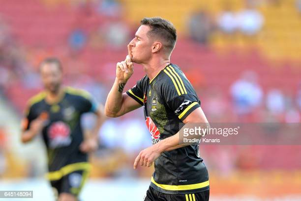 Shane Smeltz of the Phoenix celebrates scoring a goal during the round 21 ALeague match between the Brisbane Roar and the Wellington Phoenix at...