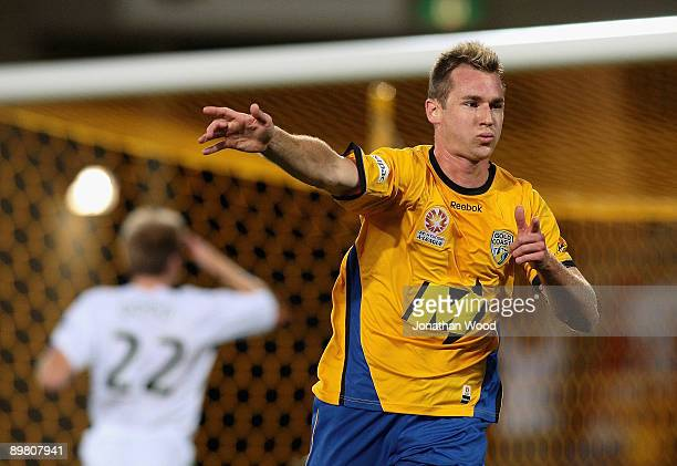 Shane Smeltz of United celebrates a goal during the round two ALeague match between Gold Coast United and North Queensland Fury at Skilled Stadium on...