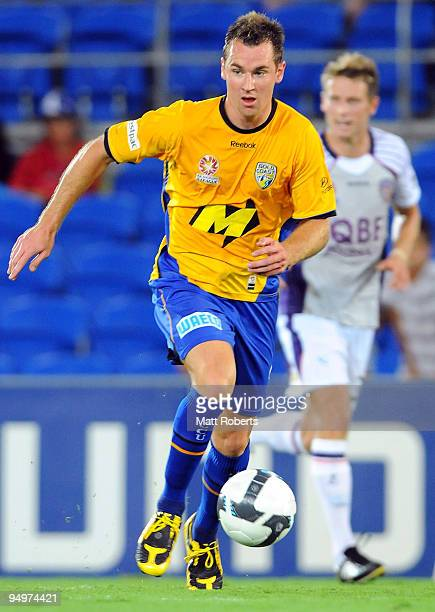 Shane Smeltz of United controls the ball during the round 20 A-League match between Gold Coast United and the Perth Glory at Skilled Park on December...