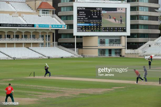 Shane Snater of Essex in the South side is bowled by Dan Wheeldon of Derbyshire and the North to end the South innings and the match during a North v...