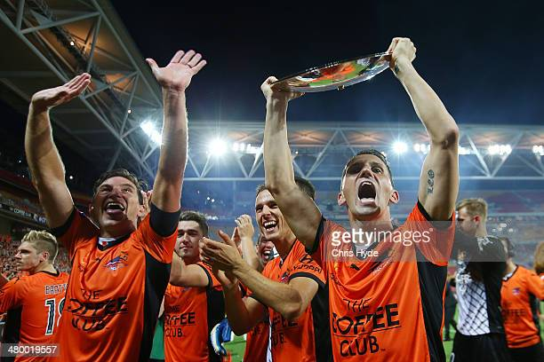 Shane Stefanutto and Liam Miller of the Roar celebrates after winning the Premiers Plate during the round 24 ALeague match between Brisbane Roar and...