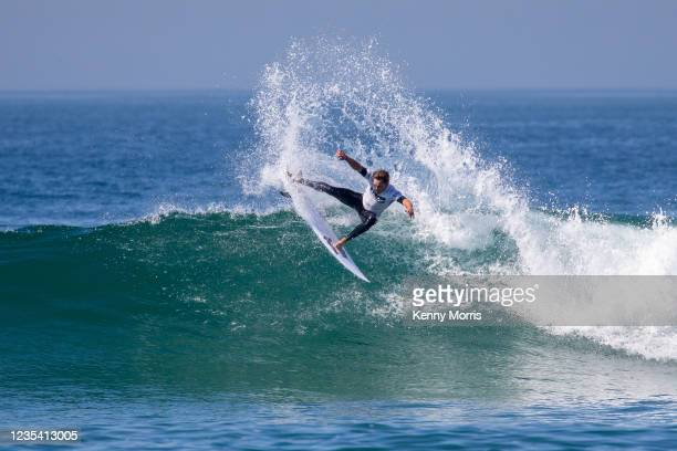 Shane Sykes of South Africa surfs in Heat 1 of the Round of 96 at the US Open of Surfing Huntington Beach presented by Shiseido on September 21, 2021...