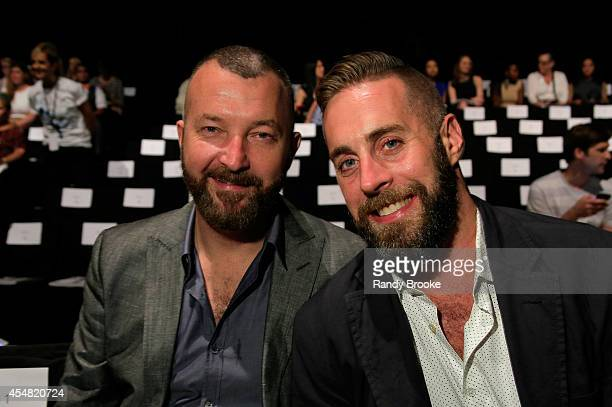 Shane Tate and Ryan Zoeller attend the Academy Of Art University Spring 2015 Collections during MercedesBenz Fashion Week Spring 2015 at The Theatre...