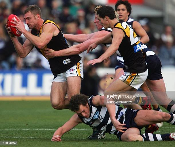 Shane Tuck for Richmond in action during the round nine AFL match between the Geelong Cats and the Richmond Tigers at Skilled Stadium on May 27 2006...