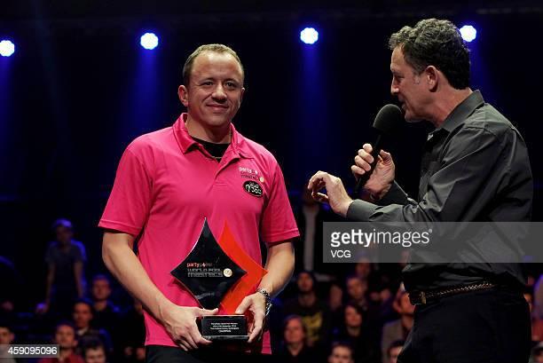Shane Van Boening of USA celebrates winning the 2014 Partypoker World Pool Masters on November 16 2014 in Nottingham England
