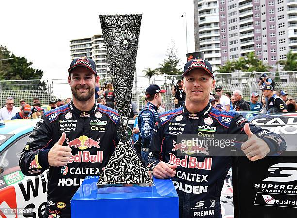 Shane Van Gisbergen and Alex Premat drivers of the Red Bull Racing Australia Holden Commodore VF celebrate after winning the pirtek endurance cup...