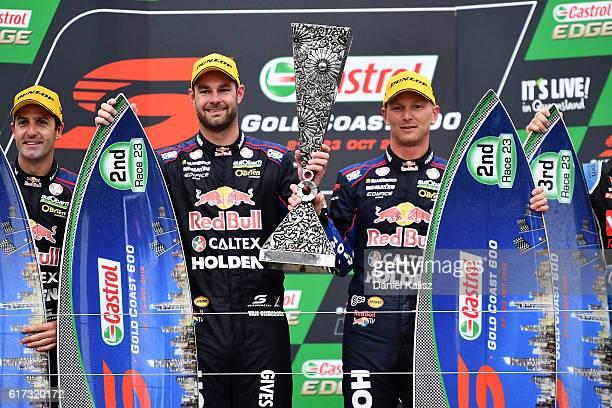 Shane Van Gisbergen and Alex Premat drivers of the Red Bull Racing Australia Holden Commodore VF celebrate after winning the pirtek endurance cup...