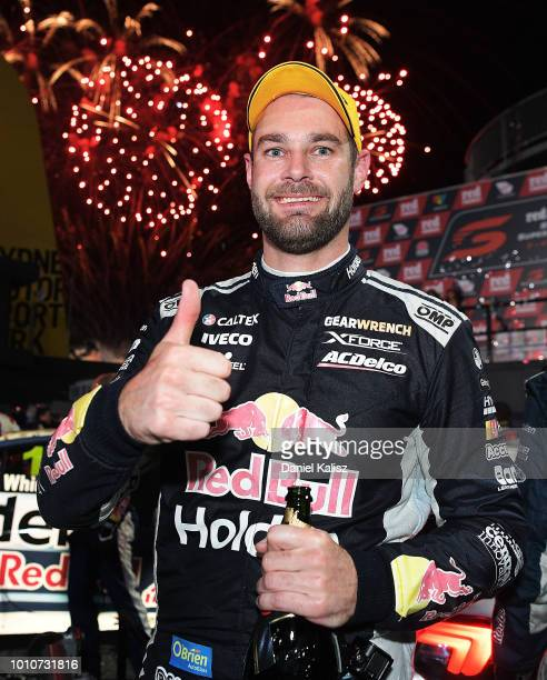 Shane Van Gisbergen driver of the Red Bull Holden Racing Team Holden Commodore ZB celebrates after winning race 21 during the Supercars Sydney...