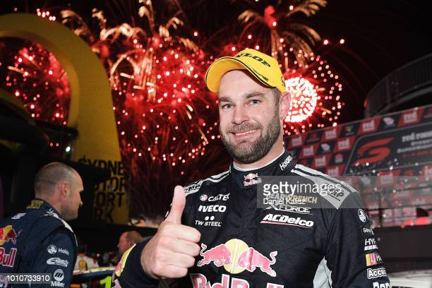 Shane Van Gisbergen driver of the Red Bull Holden Racing Team Holden Commodore ZB celebrates after winning race 21 for the Supercars Sydney...