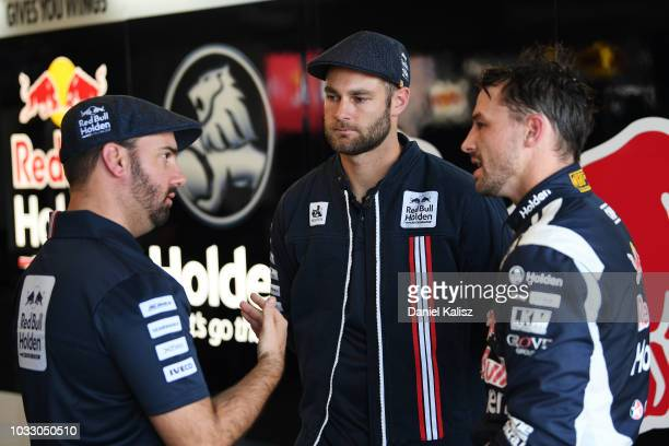 Shane Van Gisbergen driver of the Red Bull Holden Racing Team Holden Commodore ZB and Earl Bamber driver of the Red Bull Holden Racing Team Holden...