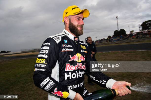 A polarizing filter was used for this image Shane van Gisbergen driver of the Red Bull Holden Racing Team Holden Commodore ZB celebrates after...