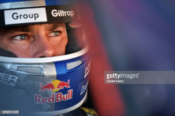 Shane Van Gisbergen driver of the Red Bull Holden Racing Team Holden Commodore ZB looks on during qualifying for Supercars Adelaide 500 on March 2...