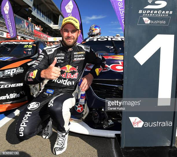 Shane Van Gisbergen driver of the Red Bull Holden Racing Team Holden Commodore ZB celebrates after winning race 1 for the Supercars Adelaide 500 on...
