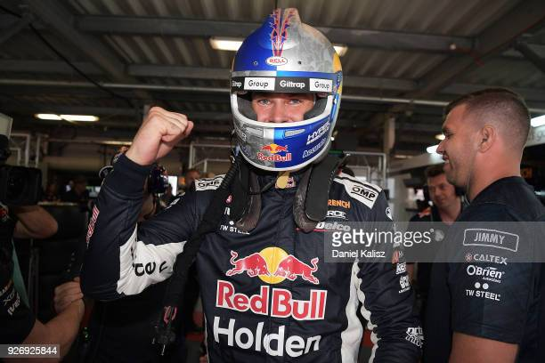 Shane Van Gisbergen driver of the Red Bull Holden Racing Team Holden Commodore ZB celebrates after taking pole position for race 2 during the top ten...