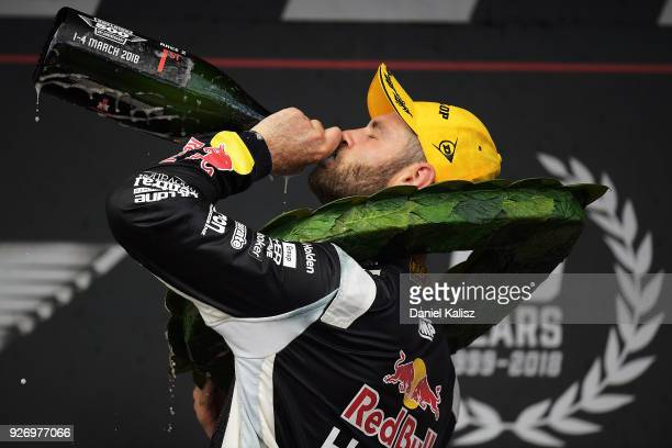 Shane Van Gisbergen driver of the Red Bull Holden Racing Team Holden Commodore ZB celebrates after winning race 2 for the Supercars Adelaide 500 on...
