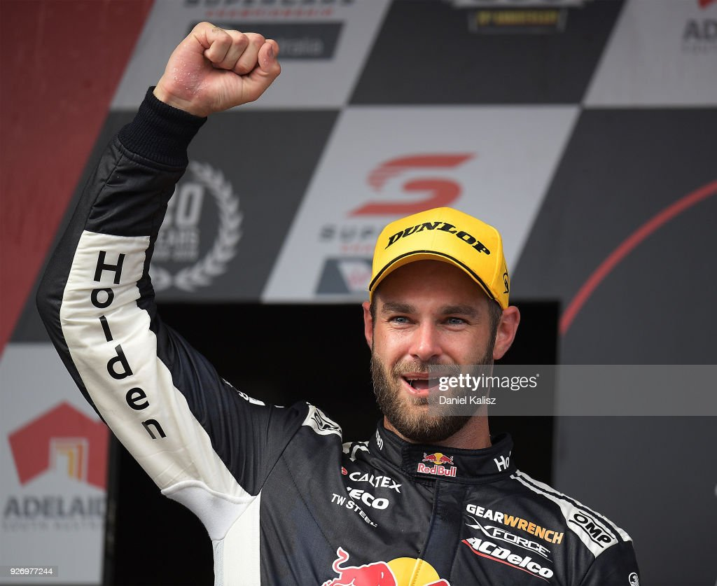 Shane Van Gisbergen driver of the #97 Red Bull Holden Racing Team Holden Commodore ZB celebrates after winning race 2 for the Supercars Adelaide 500 on March 2, 2018 in Adelaide, Australia.