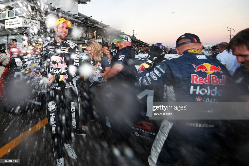 Shane Van Gisbergen driver of the #97 Red Bull Holden Racing Team Holden Commodore ZB celebrates after winning race 18 of the Supercars Townsville 400 on July 8, 2018 in Townsville, Australia.