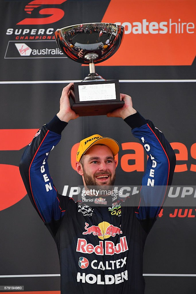 Shane Van Gisbergen driver of the #97 Red Bull Racing Australia Holden Commodore VF celebrates after winning race 1 for the V8 Supercars Ipswich Supersprint on July 23, 2016 in Ipswich, Australia.