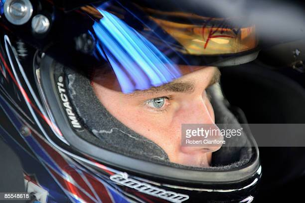 Shane Van Gisbergen driver of the Stone Brothers Racing Ford sits in his car during the warm up prior to race two of the Clipsal 500 which is round...