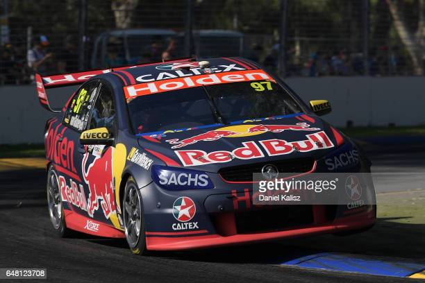 Shane Van Gisbergen drives the Red Bull Holden Racing Team Holden Commodore VF during race 2 for the Clipsal 500 which is part of the Supercars...