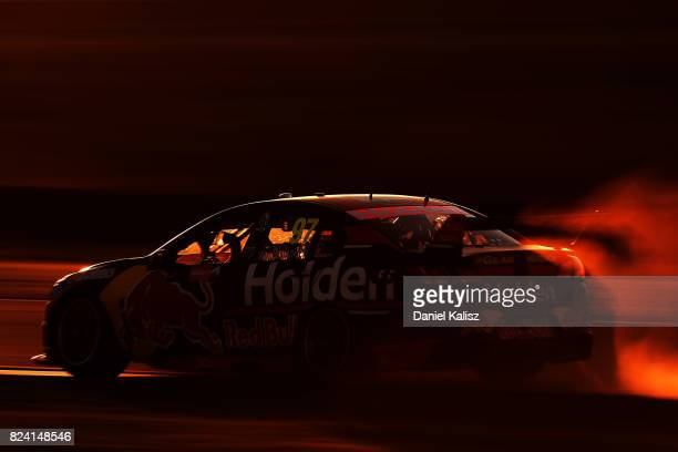 Shane Van Gisbergen drives the Red Bull Holden Racing Team Holden Commodore VF during race 15 for the Ipswich SuperSprint which is part of the...
