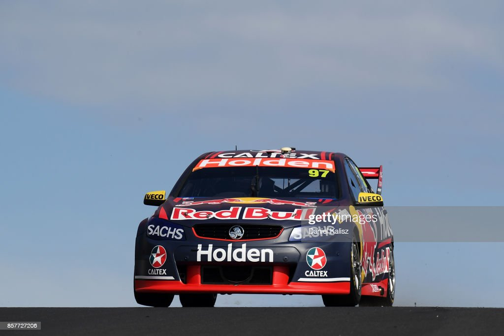 Shane Van Gisbergen drives the #97 Red Bull Holden Racing Team Holden Commodore VF during practice ahead of this weekend's Bathurst 1000, which is part of the Supercars Championship at Mount Panorama on October 5, 2017 in Bathurst, Australia.