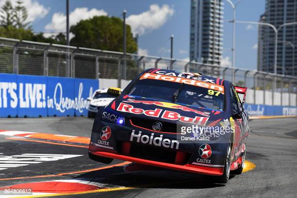 Shane Van Gisbergen drives the Red Bull Holden Racing Team Holden Commodore VF during qualifying for race 22 for the Gold Coast 600 which is part of...