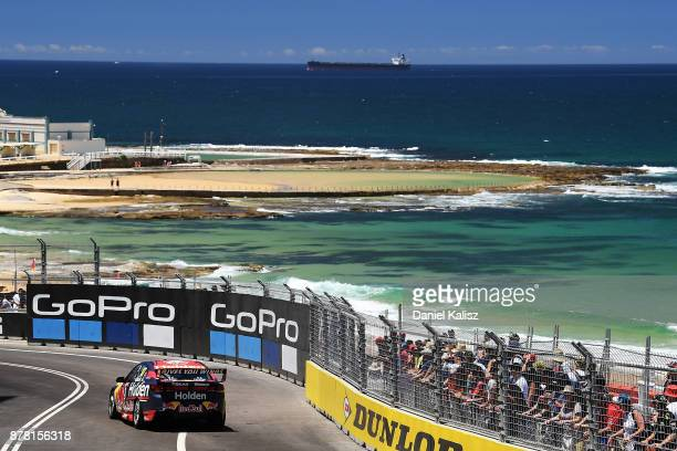 Shane Van Gisbergen drives the Red Bull Holden Racing Team Holden Commodore VF during practice 2 for the Newcastle 500 which is part of the Supercars...