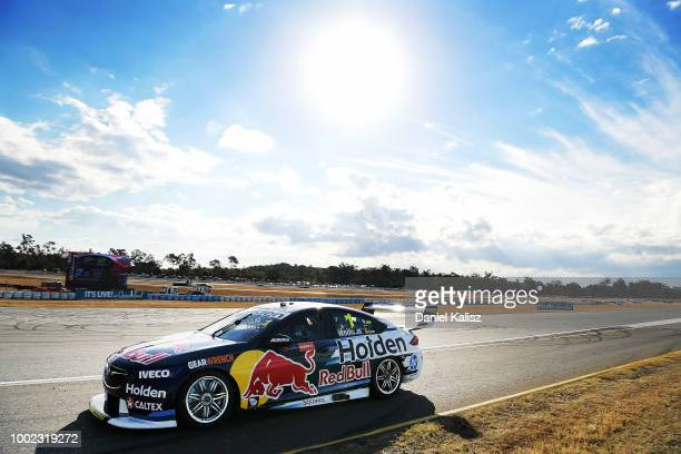 Shane Van Gisbergen drives the Red Bull Holden Racing Team Holden Commodore ZB during practice for the Supercars Ipswich SuperSprint on July 20 2018...