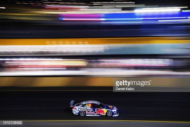 Shane Van Gisbergen drives the Red Bull Holden Racing Team Holden Commodore ZB during practice for the Supercars Sydney SuperNight 300 at Sydney...