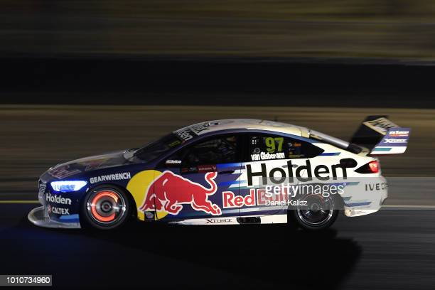 Shane Van Gisbergen drives the Red Bull Holden Racing Team Holden Commodore ZB during race 21 for the Supercars Sydney SuperNight 300 at Sydney...