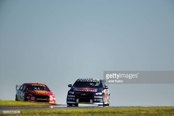 Shane Van Gisbergen drives the Red Bull Holden Racing Team Holden Commodore ZB during practice for the Supercars SuperSprint at The Bend Motorsport...