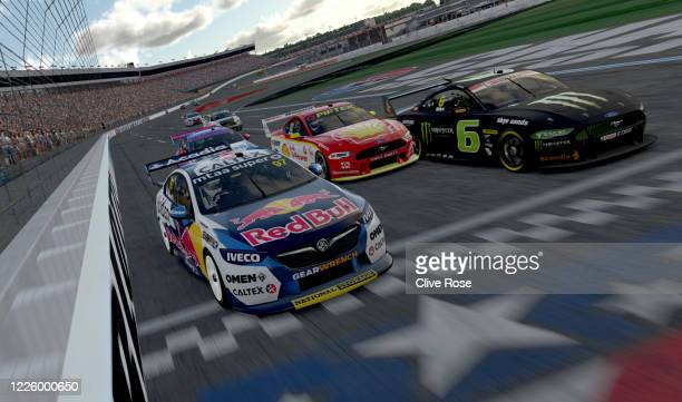 Shane van Gisbergen drives the Red Bull Holden Racing Team Holden Commodore ZB takes victory on the line in round 7 of the Supercars All Stars...
