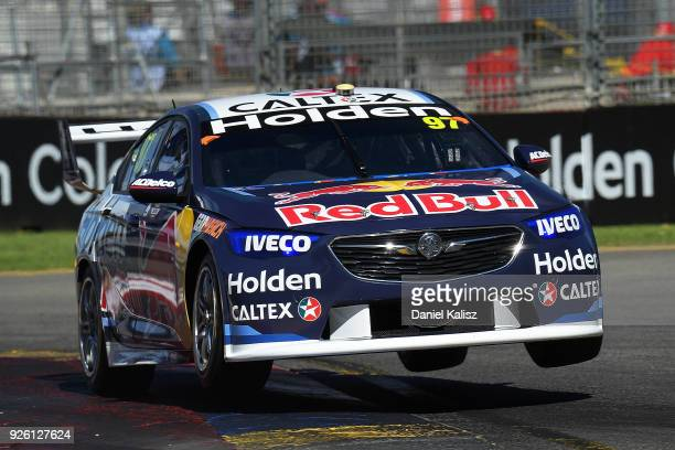 Shane Van Gisbergen drives the Red Bull Holden Racing Team Holden Commodore ZB during qualifying for Supercars Adelaide 500 on March 2 2018 in...