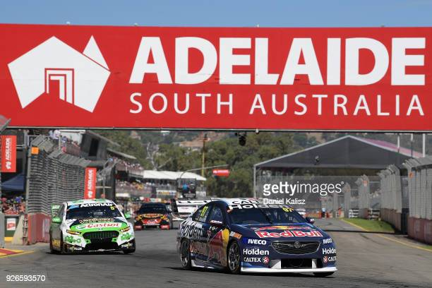 Shane Van Gisbergen drives the Red Bull Holden Racing Team Holden Commodore ZB during race 1 for the Supercars Adelaide 500 on March 2 2018 in...
