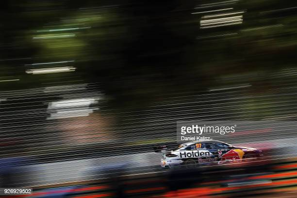 Shane Van Gisbergen drives the Red Bull Holden Racing Team Holden Commodore ZB during qualifying for the Supercars Adelaide 500 on March 2 2018 in...